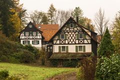 Traditional German houses in wood stock images