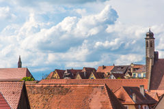 Traditional German houses with blue sky Royalty Free Stock Photography