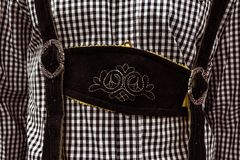 Traditional German Lederhosen Center Chestpiece Closeup Leather Royalty Free Stock Images