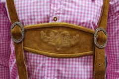Traditional German Lederhosen Center Chestpiece Closeup Leather Royalty Free Stock Photo