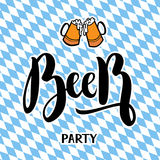 Traditional German Oktoberfest bier festival with text Beer party. Vector lettering illustration. On bayern background Stock Photography
