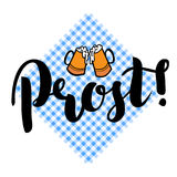 Traditional German Oktoberfest bier festival with text Prost Cheers and two biers. Vector lettering illustration. Isolated on white Royalty Free Stock Photos