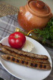 Traditional german  smoked sausages Royalty Free Stock Photo