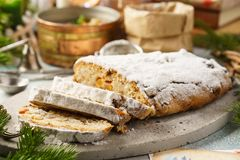 Traditional German stollen, sweet cake with candied fruits royalty free stock photos