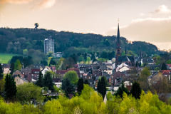 Traditional german town city center in the Eifel church spring Royalty Free Stock Image