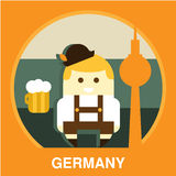 Traditional Germany Resident Vector Illustration. Icon of traditional Germany representative in flat style, vector illustration Stock Photography