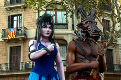Traditional giants in the National Day of Catalonia in Barcelona Royalty Free Stock Photos