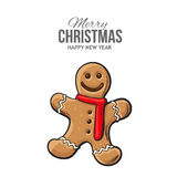 Traditional gingerbread, Christmas greeting card Royalty Free Stock Photo