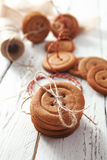 Traditional gingerbread cookies us a big buttons Stock Photos