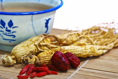 Traditional Ginseng Soup 04. Close up capture on Chinese Traditional Ginseng and Soup Stock Photos
