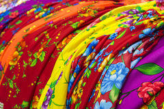 Traditional gipsy dresses fabrics Stock Photography