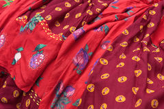 Traditional gipsy dresses fabrics Royalty Free Stock Photos