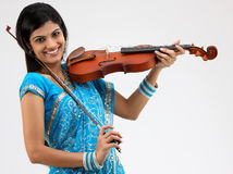 Traditional girl with the violin Stock Photo