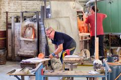 Traditional glass factory on the island of Murano near Venice stock photo