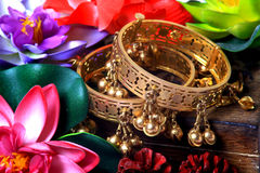 Traditional golden bracelets Stock Image