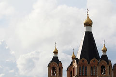 A traditional golden cupola in Russian cathedral Stock Photos