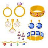Traditional golden jewellery bangles diamond luxury fine minute precious gold jewelery vector illustration. Traditional golden jewellery bangles diamond luxury Stock Photography