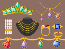 Traditional golden jewellery bangles diamond luxury fine minute precious gold jewelery vector illustration. Traditional golden jewellery bangles diamond luxury Royalty Free Stock Photo