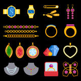 Traditional golden jewellery bangles diamond luxury necklace precious jewelery vector illustration Royalty Free Stock Photography