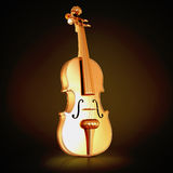 Traditional  golden violin  on black background. Stock Image
