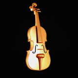 Traditional  golden violin  isolated  on black background. Royalty Free Stock Image