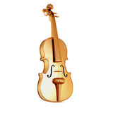 Traditional  golden violin  isolated  on white background. Stock Photo