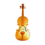 Traditional  golden violin  isolated  on white background. Royalty Free Stock Images
