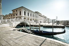 Traditional gondola on Canal Grande, San Marco, Venice Stock Photo