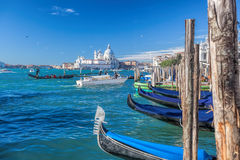 Traditional Gondolas on Grand Canal in Venice, Italy Stock Image