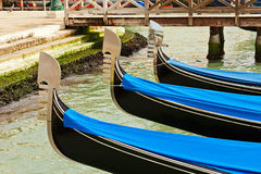 Traditional gondolas in Venice. Italy Royalty Free Stock Images