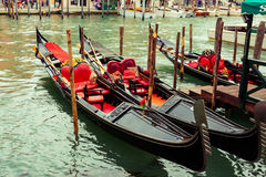 Traditional gondolas in Venice Stock Images