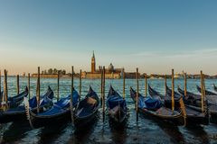 Traditional Gondolas at Venice royalty free stock photo