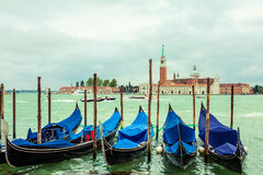 Traditional gondolas in Venice Royalty Free Stock Photo