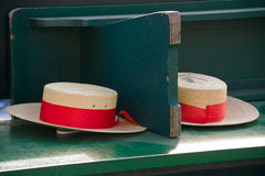 Traditional Gondolier's straw hats in Venice Royalty Free Stock Image