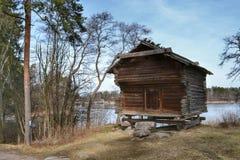 Grain storage wooden cabin Seurasaari Stock Image