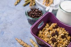 Traditional granola with raisins. And nuts in a bowl on the table. Selective focus Royalty Free Stock Image