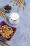 Traditional granola with raisins. And nuts in a bowl on the table. Selective focus Royalty Free Stock Photography