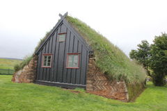 Traditional grassy church, Iceland Royalty Free Stock Image