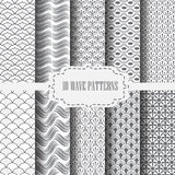 Traditional gray wave pattern 4. 10 different classic wave vector patterns. Endless texture can be used for wallpaper, pattern fills, web page background,surface Stock Photo