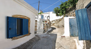 Traditional Greece. White painted Greek village houses on the island of Rhodes royalty free stock images