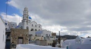 Traditional greece church in exo gonia on santorini Stock Image