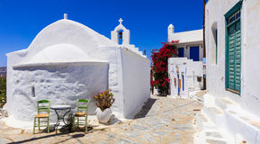 Traditional Greece series - streets of Amorgos, Chora village. Old Streets Greece,Traditional White Church In Chora Village,Amorgos Island Royalty Free Stock Photo