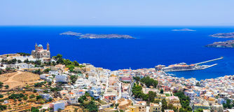 Traditional Greece series - Syros island, capital of Cyclades. Panoramic view of Syros,Cyclades,Greece Royalty Free Stock Images