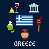Traditional Greece symbols and culture icons Stock Images