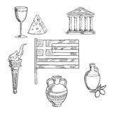 Traditional Greece symbols and culture objects. Greece traditional symbols and objects with national flag, Parthenon temple and ancient amfora, torch with flame Stock Photo