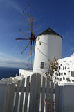 Traditional greece windmill in oia on santorini island Royalty Free Stock Photography