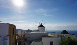Traditional greece windmill in oia on santorini island Royalty Free Stock Photo