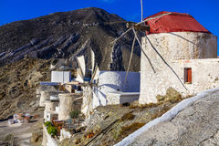 Traditional Greece - windmills of Karpathos island Stock Images