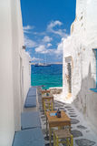 Traditional greek alley on Mykonos island Stock Images