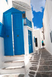 Traditional greek alley on Mykonos island Royalty Free Stock Photography
